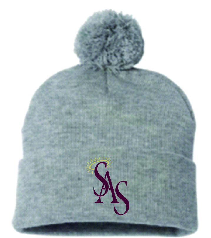 Gray Winter Hat with Pom-Pom w/ SAS Logo