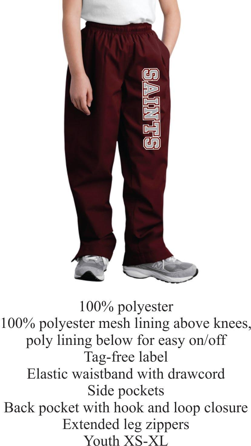 Youth Maroon Open Bottom Polyester Pants Unisex w/ Saints Logo